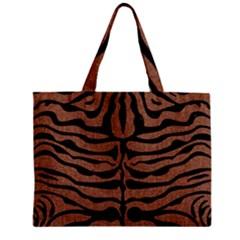 Skin2 Black Marble & Brown Denim Zipper Mini Tote Bag by trendistuff