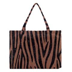 Skin4 Black Marble & Brown Denim (r) Medium Tote Bag by trendistuff