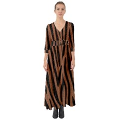 Skin4 Black Marble & Brown Denim (r) Button Up Boho Maxi Dress