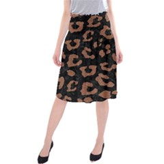 Skin5 Black Marble & Brown Denim Midi Beach Skirt by trendistuff
