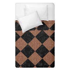 Square2 Black Marble & Brown Denim Duvet Cover Double Side (single Size) by trendistuff