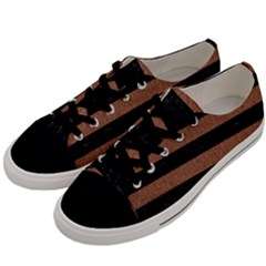Stripes2 Black Marble & Brown Denim Men s Low Top Canvas Sneakers by trendistuff