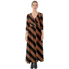 Stripes3 Black Marble & Brown Denim Button Up Boho Maxi Dress