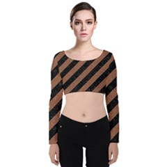 Stripes3 Black Marble & Brown Denim (r) Velvet Long Sleeve Crop Top