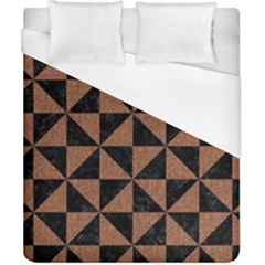 Triangle1 Black Marble & Brown Denim Duvet Cover (california King Size) by trendistuff