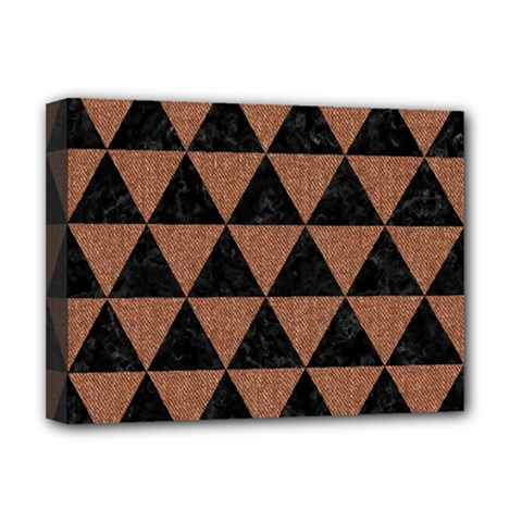 Triangle3 Black Marble & Brown Denim Deluxe Canvas 16  X 12   by trendistuff