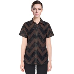 Chevron9 Black Marble & Dark Brown Wood (r) Women s Short Sleeve Shirt