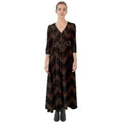 Chevron9 Black Marble & Dark Brown Wood (r) Button Up Boho Maxi Dress