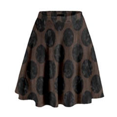 Circles2 Black Marble & Dark Brown Wood High Waist Skirt by trendistuff