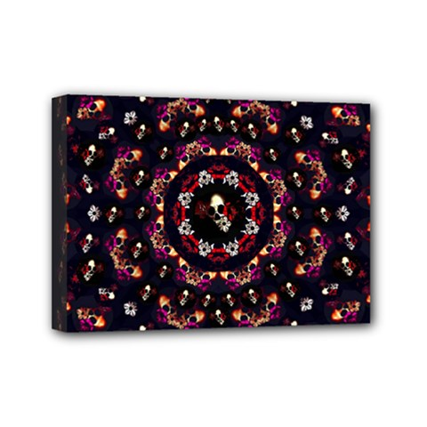 Floral Skulls In The Darkest Environment Mini Canvas 7  X 5  by pepitasart