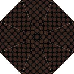 Circles2 Black Marble & Dark Brown Wood (r) Hook Handle Umbrellas (large) by trendistuff