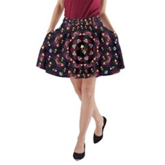 Floral Skulls In The Darkest Environment A Line Pocket Skirt by pepitasart