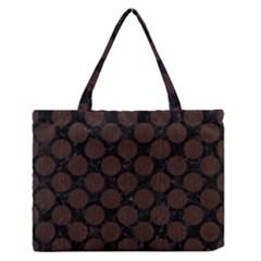 Circles2 Black Marble & Dark Brown Wood (r) Zipper Medium Tote Bag by trendistuff