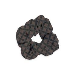 Circles3 Black Marble & Dark Brown Wood Velvet Scrunchie by trendistuff