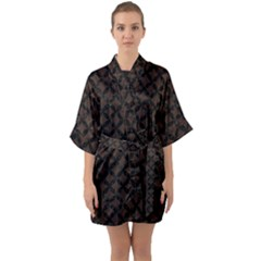 Circles3 Black Marble & Dark Brown Wood Quarter Sleeve Kimono Robe