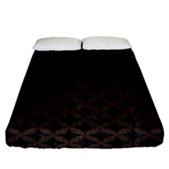 Circles3 Black Marble & Dark Brown Wood (r) Fitted Sheet (queen Size) by trendistuff