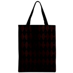 Diamond1 Black Marble & Dark Brown Wood Zipper Classic Tote Bag