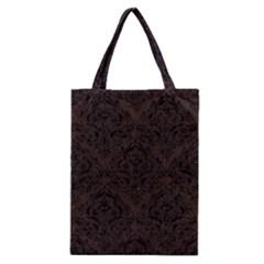 Damask1 Black Marble & Dark Brown Wood Classic Tote Bag by trendistuff