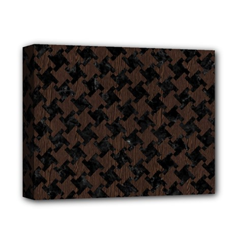 Houndstooth2 Black Marble & Dark Brown Wood Deluxe Canvas 14  X 11  by trendistuff