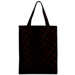 Houndstooth2 Black Marble & Dark Brown Wood Zipper Classic Tote Bag by trendistuff
