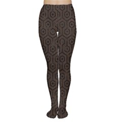 Hexagon1 Black Marble & Dark Brown Wood Women s Tights by trendistuff