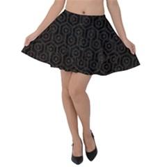 Hexagon1 Black Marble & Dark Brown Wood (r) Velvet Skater Skirt
