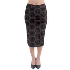 Hexagon2 Black Marble & Dark Brown Wood (r) Midi Pencil Skirt by trendistuff