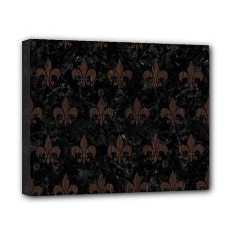 Royal1 Black Marble & Dark Brown Wood Canvas 10  X 8  by trendistuff