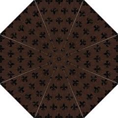Royal1 Black Marble & Dark Brown Wood (r) Hook Handle Umbrellas (medium) by trendistuff