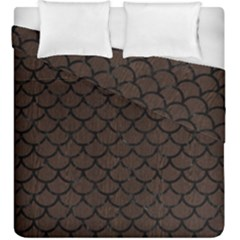 Scales1 Black Marble & Dark Brown Wood Duvet Cover Double Side (king Size) by trendistuff