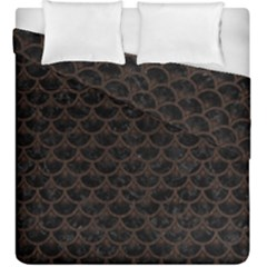 Scales3 Black Marble & Dark Brown Wood (r) Duvet Cover Double Side (king Size) by trendistuff