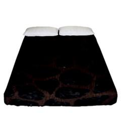 Skin1 Black Marble & Dark Brown Wood Fitted Sheet (queen Size) by trendistuff