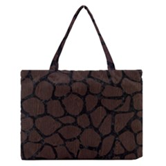Skin1 Black Marble & Dark Brown Wood (r) Zipper Medium Tote Bag by trendistuff