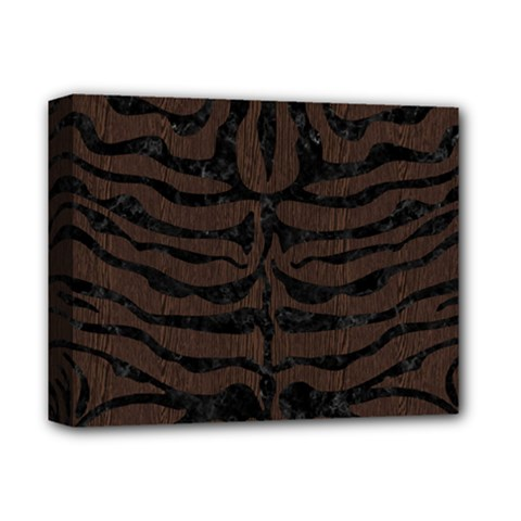 Skin2 Black Marble & Dark Brown Wood Deluxe Canvas 14  X 11  by trendistuff