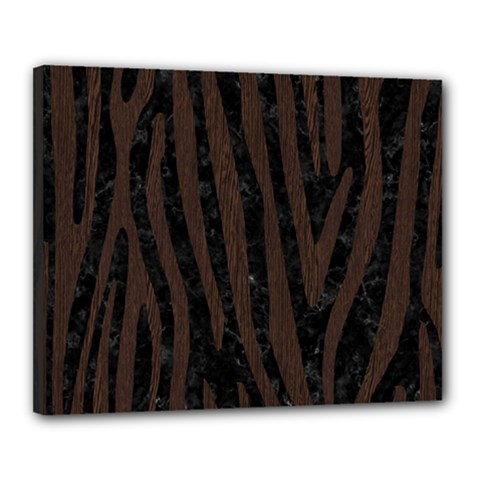 Skin4 Black Marble & Dark Brown Wood Canvas 20  X 16  by trendistuff