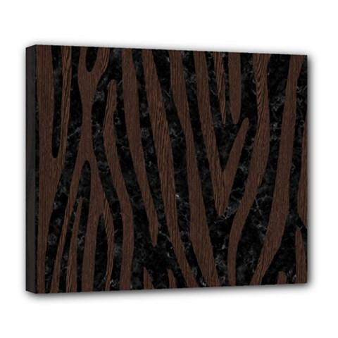 Skin4 Black Marble & Dark Brown Wood Deluxe Canvas 24  X 20   by trendistuff