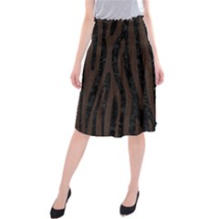 Skin4 Black Marble & Dark Brown Wood Midi Beach Skirt by trendistuff