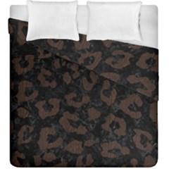 Skin5 Black Marble & Dark Brown Wood Duvet Cover Double Side (king Size) by trendistuff