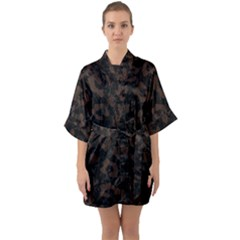 Skin5 Black Marble & Dark Brown Wood Quarter Sleeve Kimono Robe