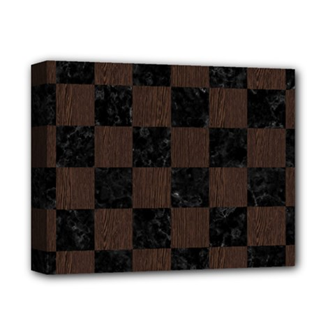 Square1 Black Marble & Dark Brown Wood Deluxe Canvas 14  X 11  by trendistuff