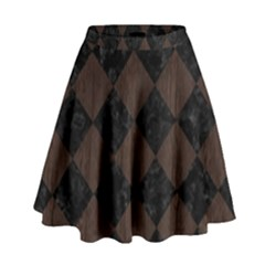 Square2 Black Marble & Dark Brown Wood High Waist Skirt by trendistuff