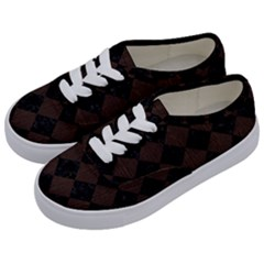 Square2 Black Marble & Dark Brown Wood Kids  Classic Low Top Sneakers by trendistuff
