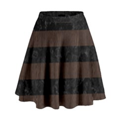 Stripes2 Black Marble & Dark Brown Wood High Waist Skirt by trendistuff