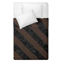 Stripes3 Black Marble & Dark Brown Wood Duvet Cover Double Side (single Size) by trendistuff