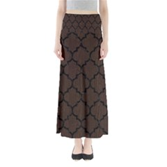 Tile1 Black Marble & Dark Brown Wood Full Length Maxi Skirt