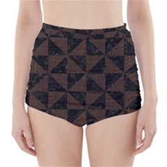 Triangle1 Black Marble & Dark Brown Wood High Waisted Bikini Bottoms