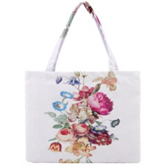 Fleur Vintage Floral Painting Mini Tote Bag by Celenk