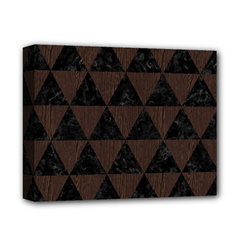 Triangle3 Black Marble & Dark Brown Wood Deluxe Canvas 14  X 11  by trendistuff