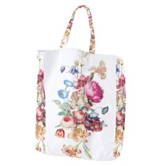Fleur Vintage Floral Painting Giant Grocery Zipper Tote by Celenk