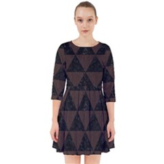 Triangle3 Black Marble & Dark Brown Wood Smock Dress